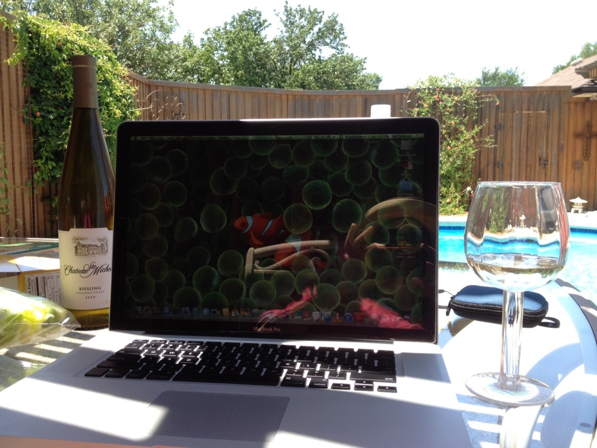 Laptop & Wine by the Pool