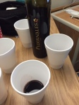 Texas Tempranillo from Pedernales Cellars in styrofoam cups